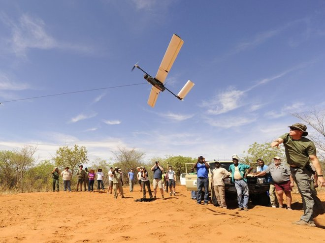 A Falcon UAV unpiloted aircraft is bungee launched in a midday demonstration flight. Source: smithsonianmag.org